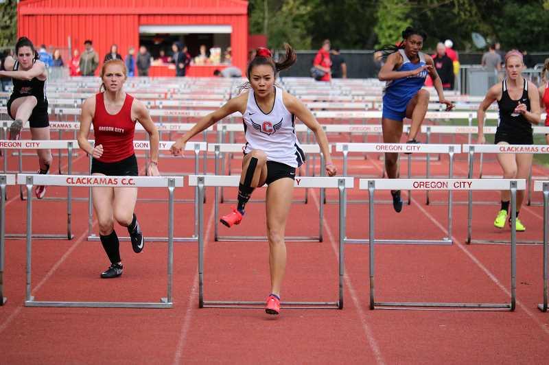 PMG FILE PHOTO: JIM BESEDA - Kailee Yoshishige set the school record in the 300-meter hurdles last year at 45.94 seconds and she ranks No. 2 on Clackamas' all-time list in the 100 hurdles with a time of 15.19 seconds.