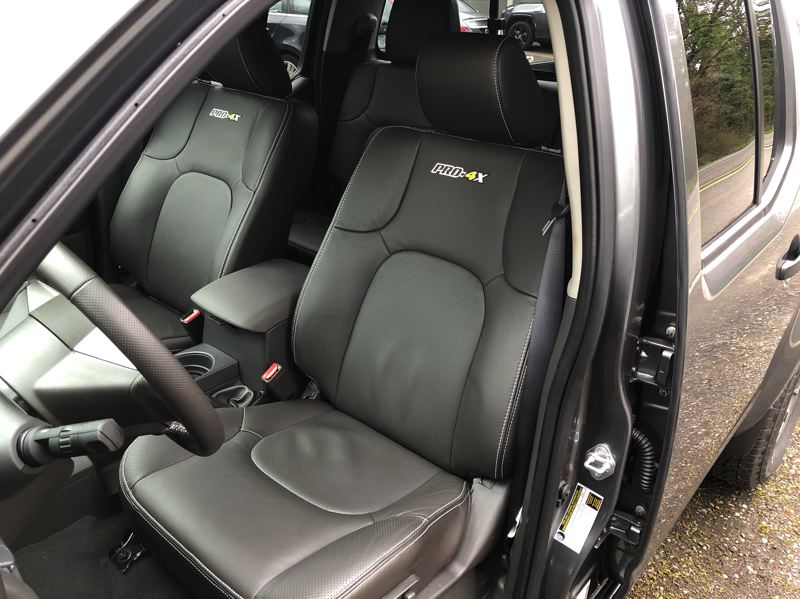 PMG PHOTO: JEFF ZURSCHMEIDE - Higher trim levels of the 2020 Nissan Frontier are available with upscale leather interiors.