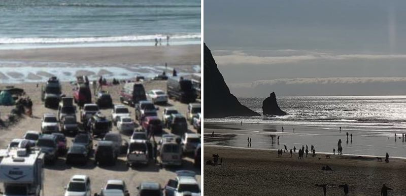 PMG FILE PHOTO - Internet webcams show packed sands as Oregonians ignore social distancing orders up and down the coast on Saturday, March 21.