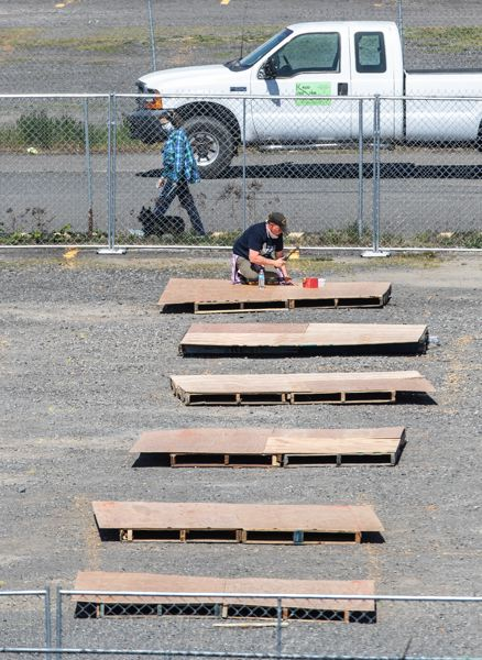 PMG PHOTO: JONATHAN HOUSE - The city-county Joint Office of Homeless Services is preparing to open three temporary outdoor homeless shelters in Portland.