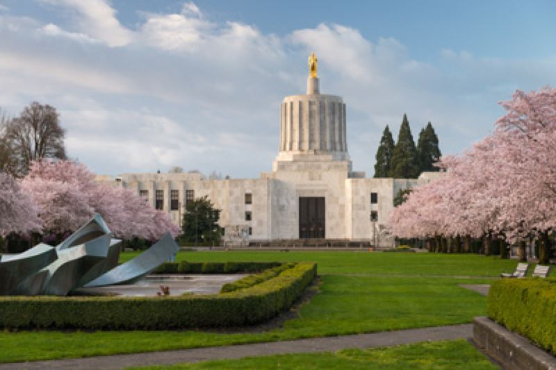 STATE OF OREGON - The Oregon State Capitol in Salem.
