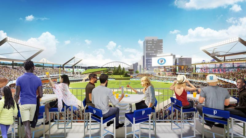 COURTESY PORTLAND DIAMOND PROJECT - Artist's renderings show what a baseball stadium in Portland might look like, with seats behind home plate featuring a view of the Fremont Bridge.