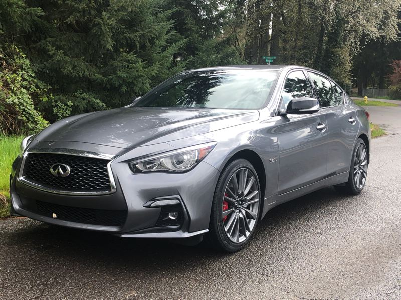 PMG PHOTO: JEFF ZURSCHMEIDE - The big red calipers are just about the only outward sign that the 2020 Infiniti Q50 Red Line 400 AWD is loaded with performance parts.