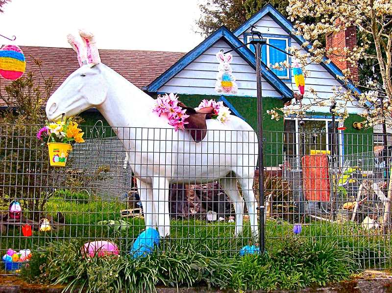 RITA A. LEONARD - This yard display in Ardenwald in April may not have made up for all the Easter Egg Hunt cancellations this year, but it surely brought a smile to those driving by.