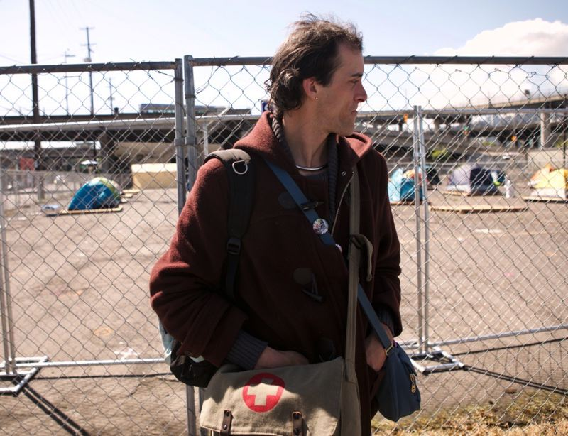 PMG PHOTO: JAIME VALDEZ - Despite being homeless herself, Raven Drake is helping to coordinate some of the medical programs at a new temporary outdoor shelter in Portland.