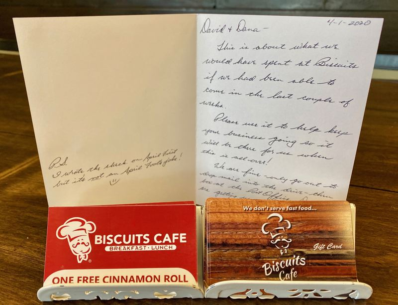 COURTESY PHOTO: DAVID LIGATICH - A pair of regulars sent a card to Biscuits Café as a sign of support during the pandemic and mandatory shutdowns.