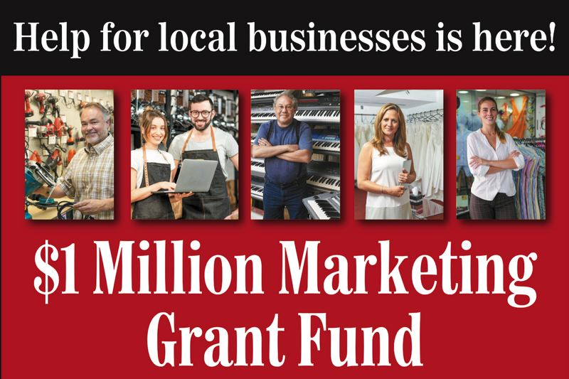 (Image is Clickable Link) Pamplin Media is launching a $1 Million Marketing Grant Fund to support local businesses, non-profits and business organizations.