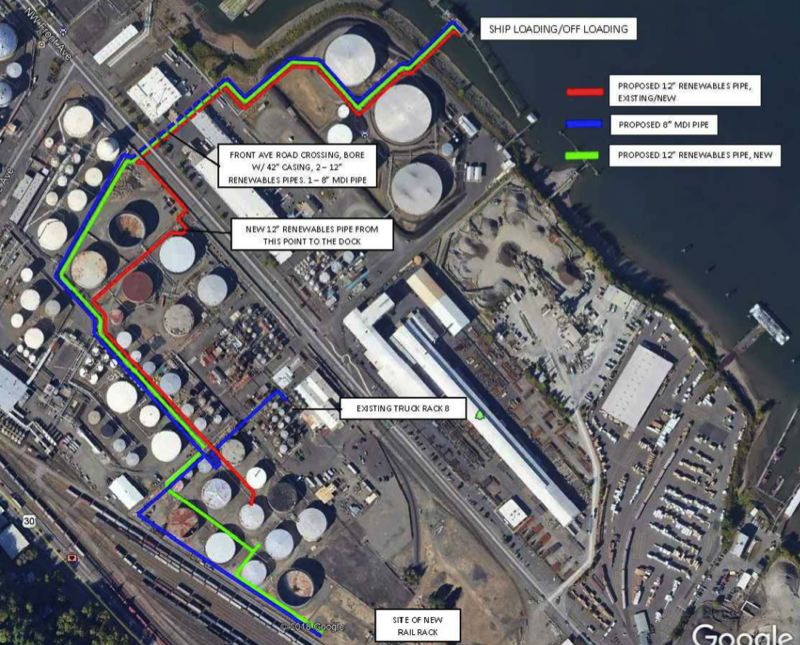 PUBLIC RECORD - A document submitted by Zenith shows the proposed route of new pipelines to the McCall Oil dock across the street. Portland rejected this iteration of the proposal in October, 2019.