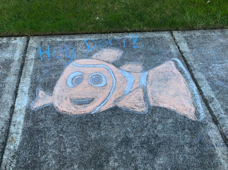 COURTESY PHOTO: JAIMIE FENDER - With chalk art, young King City residents lift the spirits of neighbors, as people keep their distance to slow the spread of COVID-19 in the community.