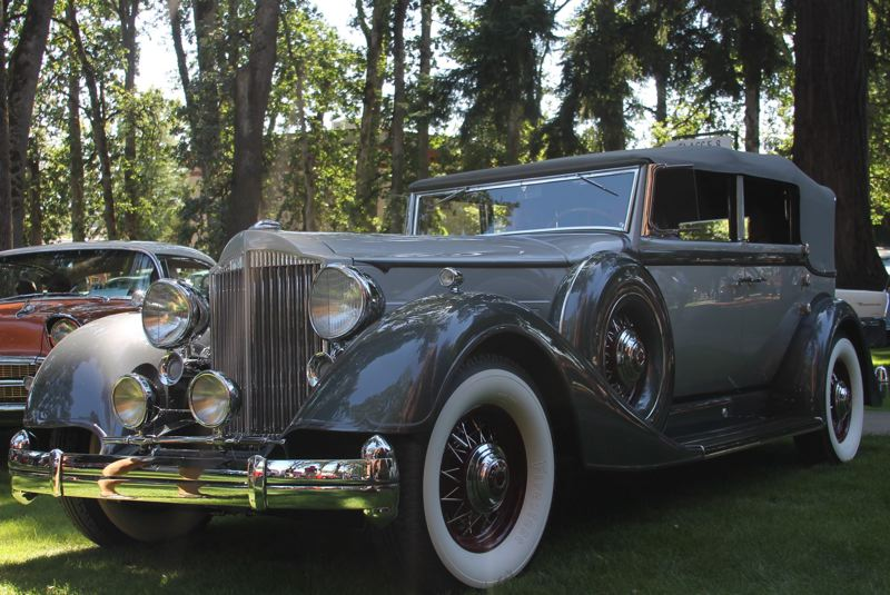 COURTESY PHOTO: ROTARY CLUB OF FOREST GROVE - The 2019 Best in Show award at Forest Grove Concours d'Elegance car show went to James and Mary Lou Harri of Walla Walla, Wash., for their 1934 Packard convertible sedan.