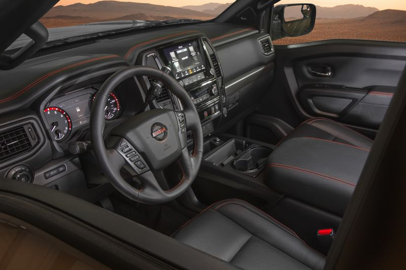 COURTESY NISSAN - The interior of the 2020 Nissan Titan Pro-X is attractive and comfortable.