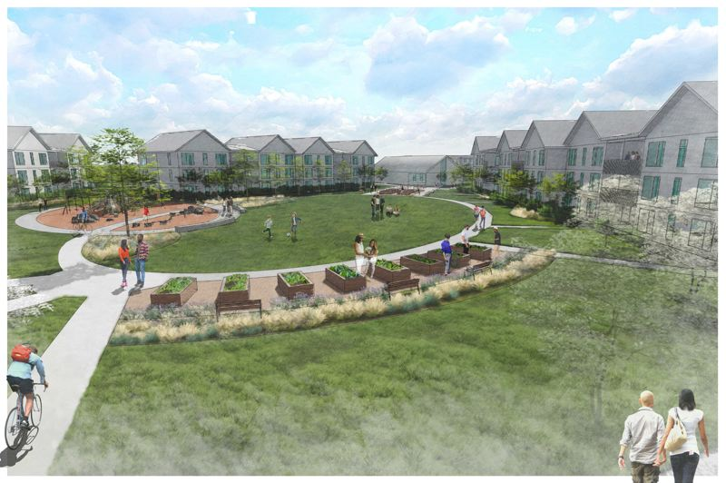 COURTESY OF NORTHWEST OREGON HOUSING AUTHORITY - A rendering of the Gable Road development in St. Helens shows residential buildings positioned around a central lawn.