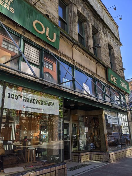 PMG: JOSEPH GALLIVAN - The Portland Outoor Store owners don't want to pay $5,000 to have the plywood sign replaced, or get his rain awning replaced. Shoppers like the western outfitter's authentic, vintage feel.