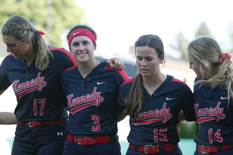 PMG FILE PHOTO: PHIL HAWKINS - Though the Trojans lost 15-6 to North Douglas in last year's championship game, Schaecher (second from left) was happy for the rare experience of playing in a state title game, especially after the team graduated five key starters from the 2018 title team.