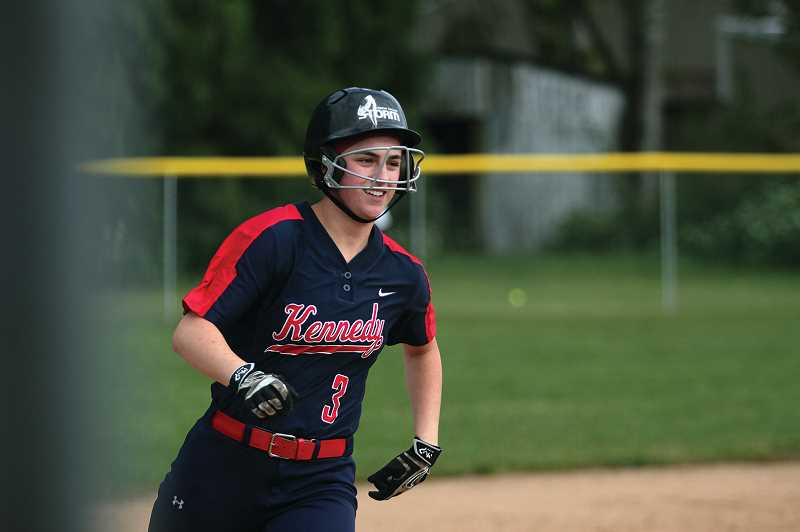 PMG FILE PHOTO: PHIL HAWKINS - In addition to her strong arm, Schaecher is an imposing presence at the plate. In last year's 13-1 victory over Glide in the state quarterfinals, she drilled back-to-back home runs in the first two innings.