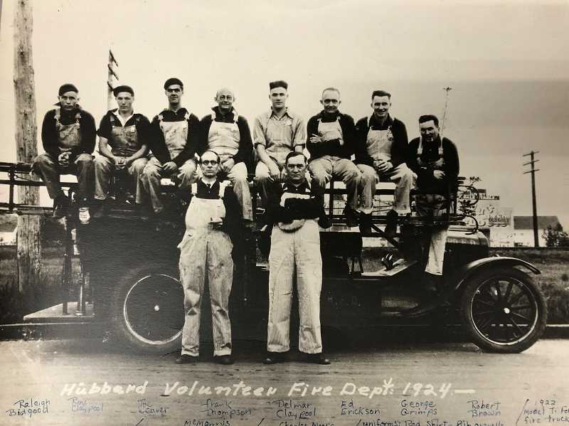 COURTESY OF HUBBARD FIRE DISTRICT - Looking back nearly a century: Hubbard Volunteer Fire Department of 1924.