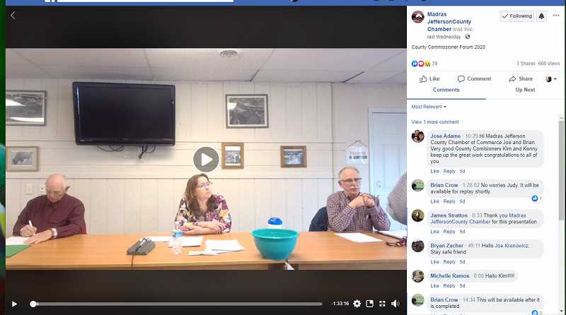 SCREENSHOT - Despite not being able to have a public forum, the Madras-Jefferson County Chamber of Commerce hosted a livestreamed forum for the three candidates for the Jefferson County Board of Commissioners, Kenny Bicart, Kim Schmith and Wayne Fording.
