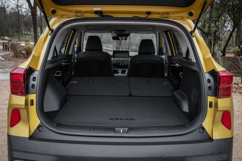 COURTESY KIA MOTORS AMERICA - The 2021 Kia Seltos has a tremendous amount of cargo space, especially with the rear seats folded down.