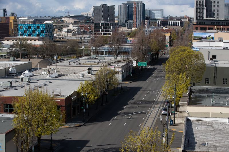 MULTNOMAH COUNTY PHOTO: MONTOYA NAKAMURA - Southeast Martin Luther King Jr. Boulevard was looking barren during a recent day in Portland.