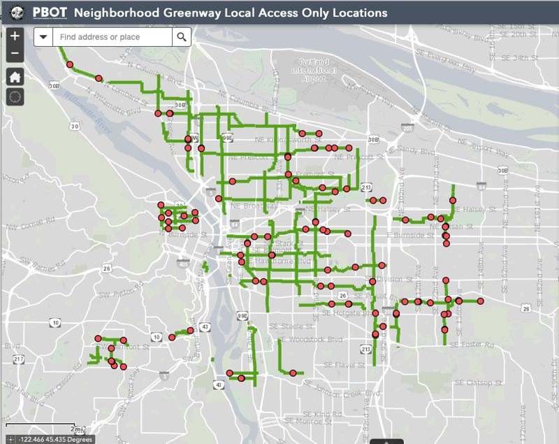 COURTESY PBOT - The interactive map posted by the Portland Bureau of Transportation that shows where motor vehicle traffic will be restricted on neighborhood greeway streets.