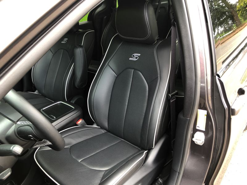 PMG PHOTO: JEFF ZURSCHMEIDE - The leather seats in the 2020 Chrysler Pacifica Hybrid are supportive and comfortable.