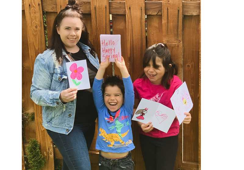 COURTESY PHOTO - Michele Rodriguez, administrative assistant with Providence ElderPlace Milwaukie, along with the help of her children, answered the call for artistic creations to support ElderPlace participants staying home during the pandemic.