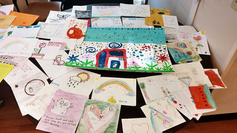 COURTESY PHOTO - More than 85 artists, most of them children, created hundreds of cheer cards with bright colors, joyful pictures and uplifting messages to support Providence ElderPlace participants who may be experiencing social isolation at home.