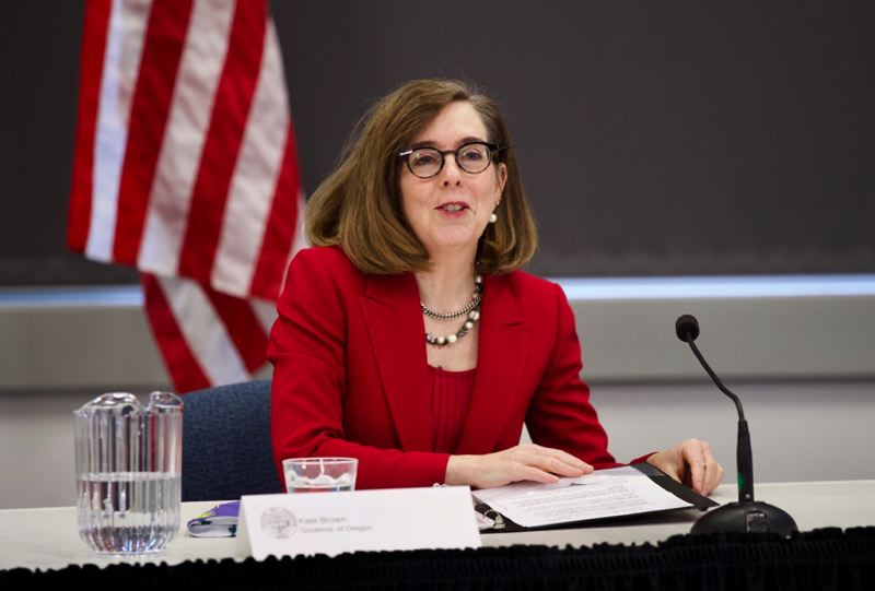 PMG PHOTO: JAIME VALDEZ - Gov. Kate Brown is addressing media this morning about a three-phase plan to reopen Oregon's economy. A longer story will follow.