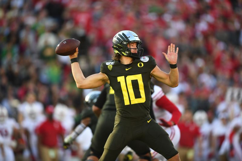 PMG FILE PHOTO: JAIME VALDEZ - Will former Oregon QB Justin Herbert be the starter for the Los Angeles Chargers?
