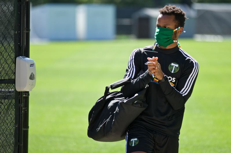 COURTESY PHOTO: PORTLAND TIMBERS - Jeremy Ebobisse arrives for his individual training session on May 8 at the Timbers Training Center in Beaverton.