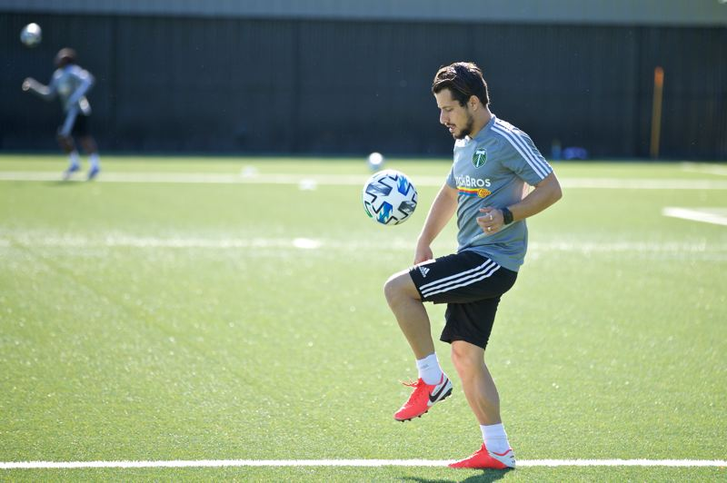 COURTESY PHOTO: PORTLAND TIMBERS - Sebastian Blanco juggles the ball during his individual training period on May 8 at the Timbers Training Center.