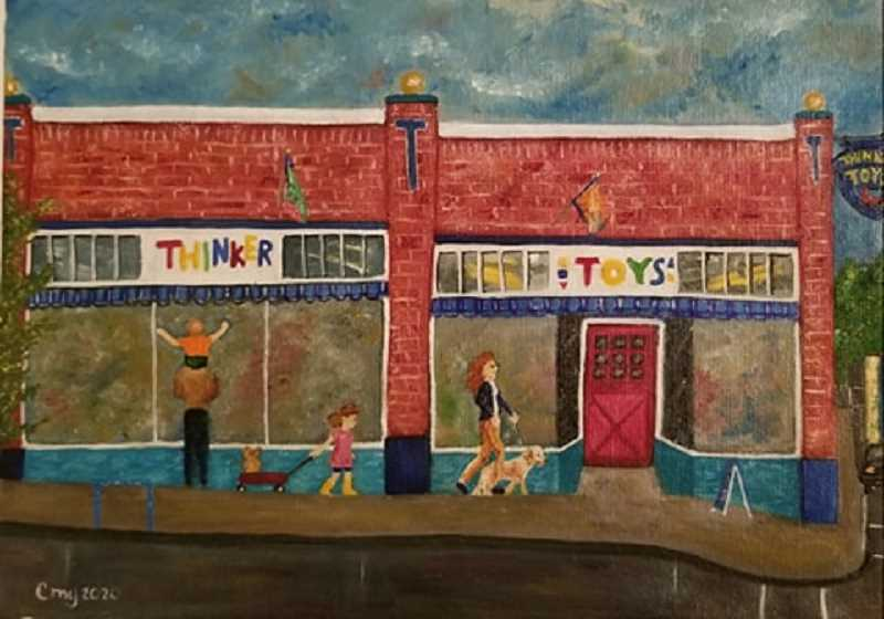 Lassiter chose Thinker Toys for her first painting because, 'Its so bright and cheery.'