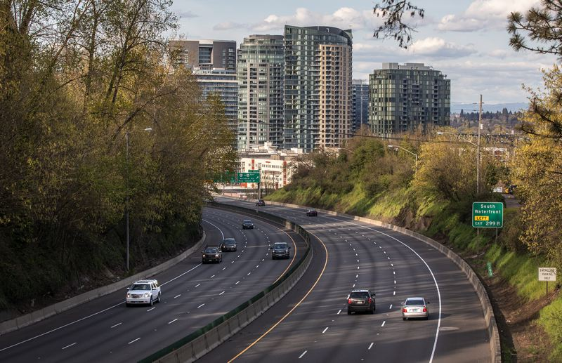 PMG PHOTO: JONATHAN HOUSE - Portland's thin rush-hour traffic is changing as the state reopens from its COVID-19 shutdown.