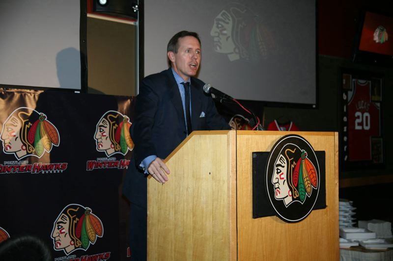 COURTESY PHOTO: BRYAN HEIM/PORTLAND WINTERHAWKS - Bill Gallacher, pictured at the 2008 event where he was introduced as the Portland Winterhawks' new owner. The WHL is seeking new ownership for the franchise.