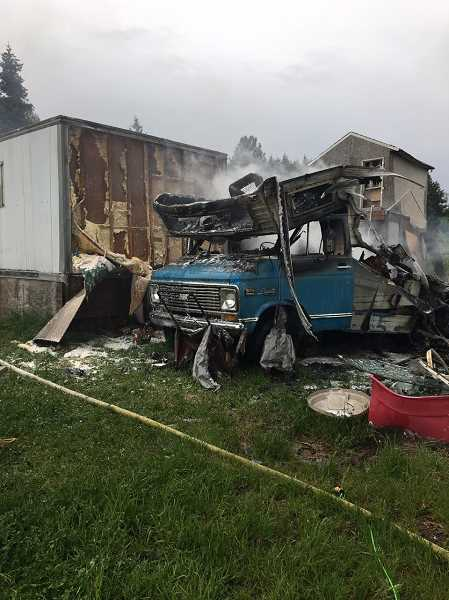 MARION COUNTY FIRE DISTRICT NO. 1 - Motor home destroyed by fire on Lakeside Drive Monday, May 11