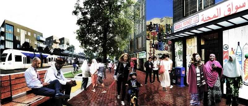 BPS ILLUSTRATION - The West Portland Town Center as envisioned by the Portland Bureau of Planning and Sustainability.
