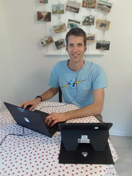COURTESY PHOTO: MARK BENEDICT - LOJ Language Arts teacher Mark Benedict at his workspace at home