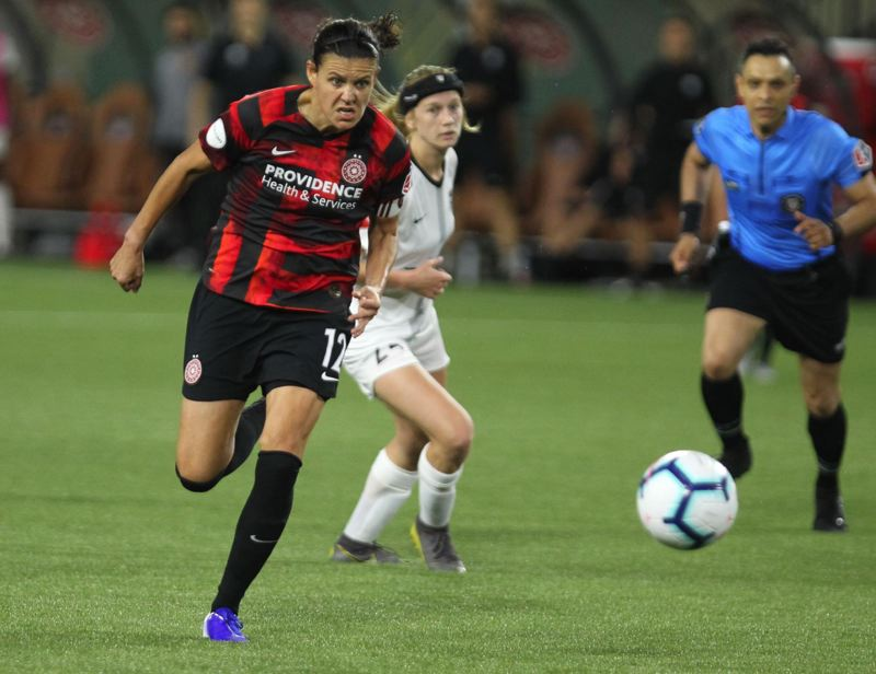 PMG FILE PHOTO: JAIME VALDEZ - Portland Thorns captian Christine Si.nclair, pictured in a 2019 match, is trying to make the best of her break from competitive soccer because of COVID-19.