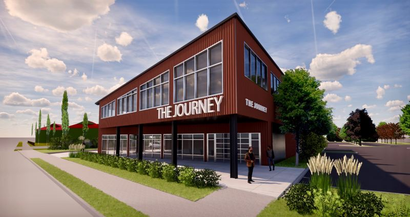 COURTESY RENDERING: AXIS DESIGN GROUP - The new development will have a retail thrift store, classrooms, a drive-through donation center, offices and a coffee kiosk.