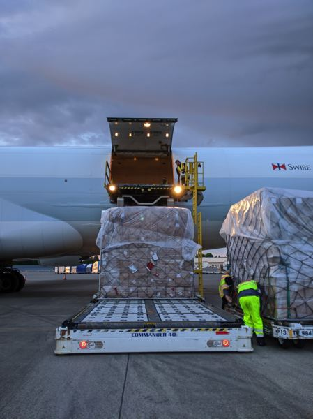 COURTESY: PORT OF PORTLAND - 500,000 3-ply medical face masks arriving at PDX for fighting COVID-19 on May 11.