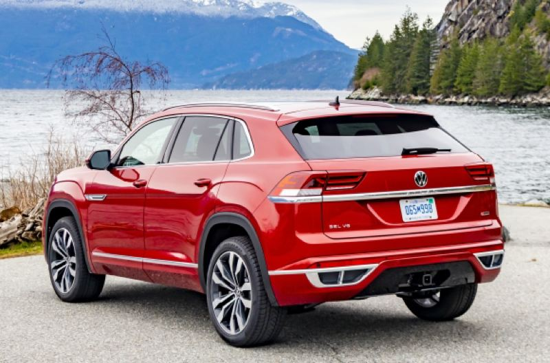 VOLKSWAGEN OF AMERICA - Removing the third row of seats from thr Atlas allowed Volkswagen to shorten the Atlas Cross Sport by 5 inches, lower the rear roofline by two inches, and angle the hatch, giving it a sportier look.