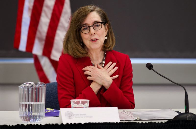 PMG PHOTO: JAIME VALDEZ - Gov. Kate Brown addresses media Thursday, May 7, regarding a plan to reopen Oregon's economy.