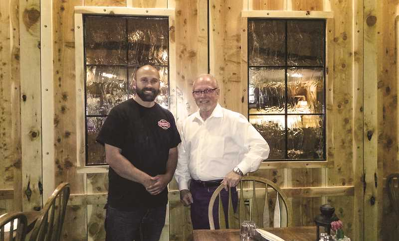 PHOTO COURTESY OF BLAINE NOLAND - Blaine Noland (left) recently completed an interior and exterior remodel of Club Pioneer for owner Jim Roths (right).