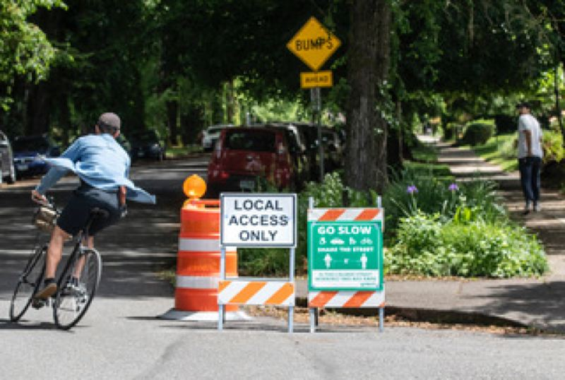 PMG PHOTO: JONATHAN HOUSE - A Slow Street/Safe Street treatment along Southeast Clinton Street.