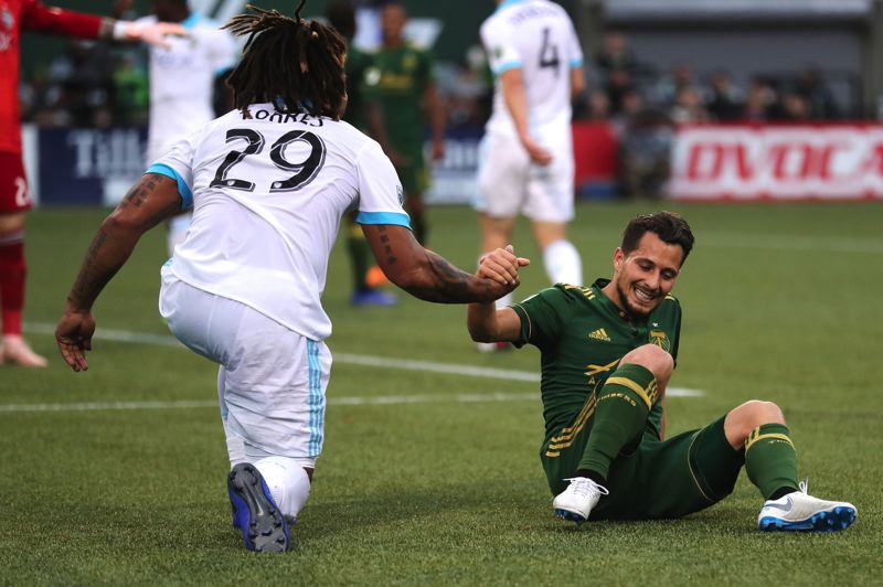 PMG FILE PHOTO: JAIME VALDEZ - Like Seattle's Roman Torres and Portland's Sebastian Blanco did in 2018, the Timbers and Sounder this week are collaborating on rivalry week events to raise money for local charities in both markets.
