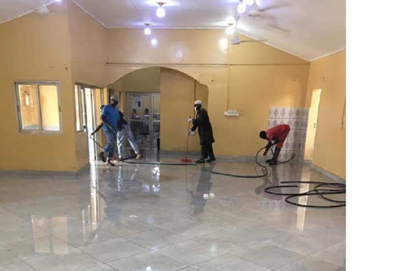 COURTESY PHOTO - Workers put the finishing touches on the new maternity ward in The Gambia.