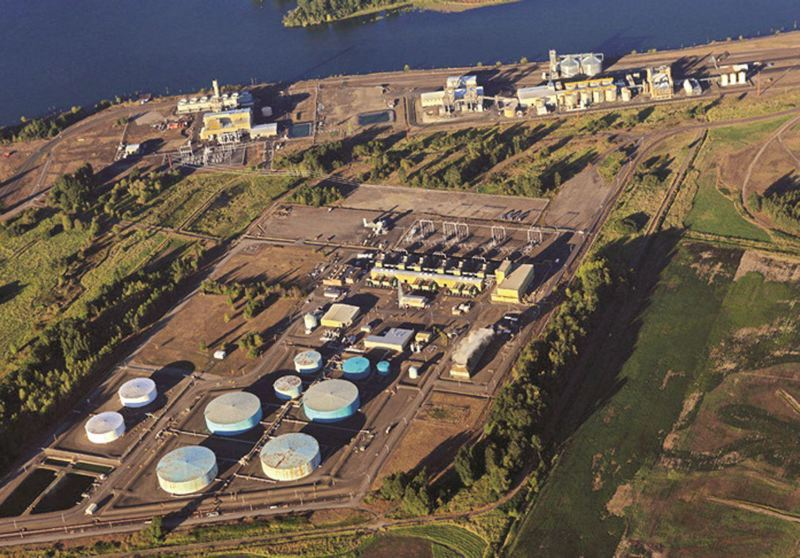 PORT OF COLUMBIA COUNTY  - An aerial view of Port Westward shows storage tanks owned by PGE.