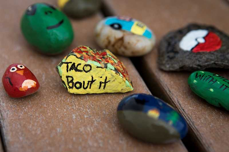 PMG PHOTO: JAIME VALDEZ - Taryn Fullmers painted rocks include everything from cute sayings to characters such as The Minions and SpongeBob SquarePants.