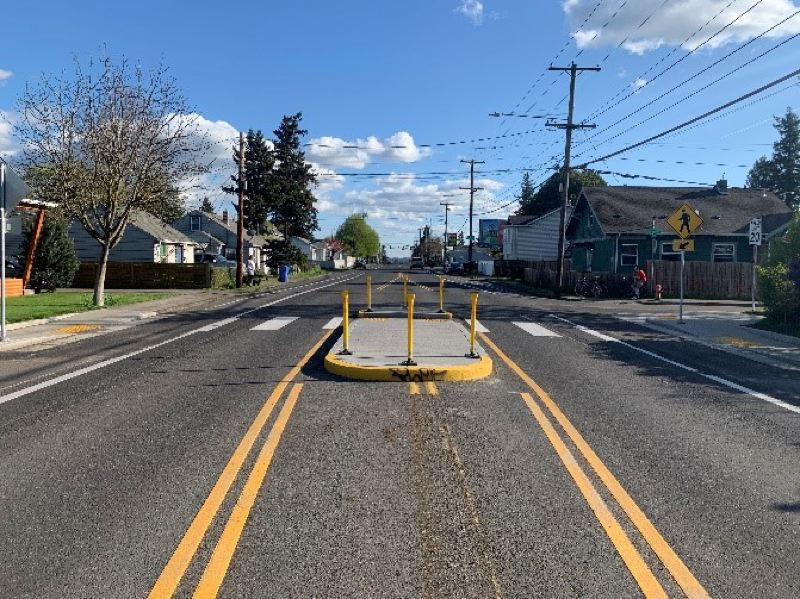 PBOT PHOTO - New curb ramps, a median island and crosswalk have been installed recently at Southeast 52nd Avenue at Knapp Street, an intersection near Lewis Elementary and Lane Middle schools.