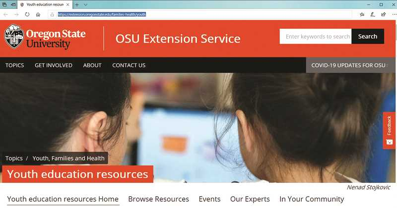 COURTESY PHOTO - A look at the home page for the new OSU Extension Service youth education resources website.